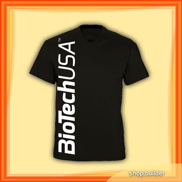 BioTech USA Črna moška majica z v-izrezom