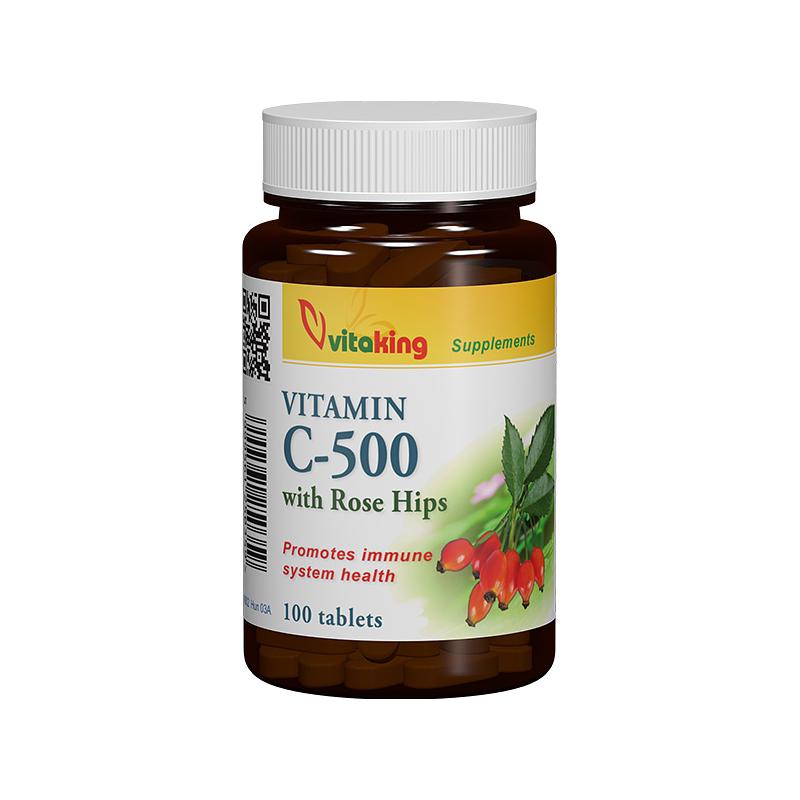 VitaKing Vitamin C-500 w. Rose Hips 100 tab.