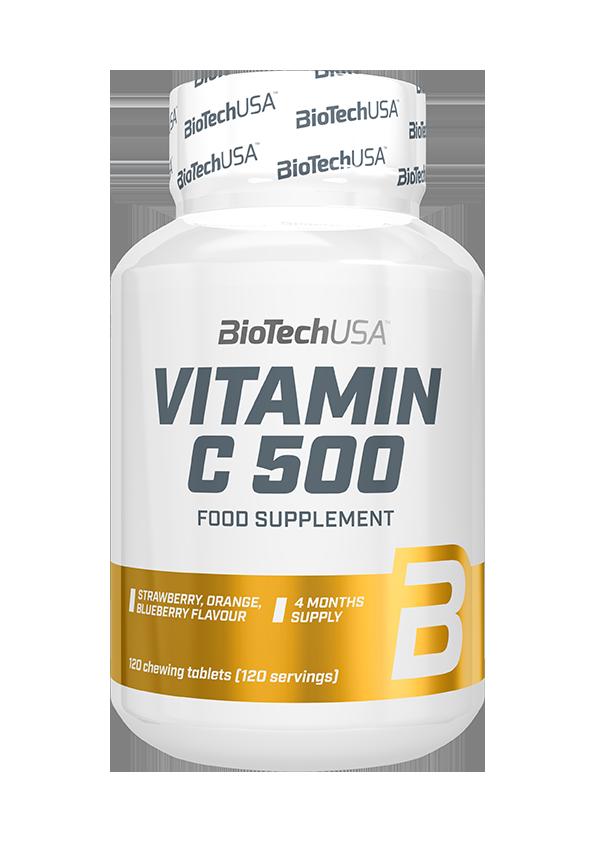 BioTech USA Vitamin C-500 žvečilne tablete 120 žvečilnih tablet